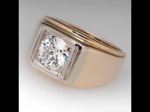 VINTAGE MENS RING 1.5 CARAT OLD EURO DIAMOND