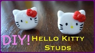 DIY Hello Kitty Stud Earrings (using Sculpey) - YouTube