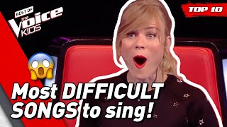 Video TOP 10 | Most DIFFICULT SONGS to sing in The Voice Kids MP3, 3GP, MP4, WEBM, AVI, FLV April 2019