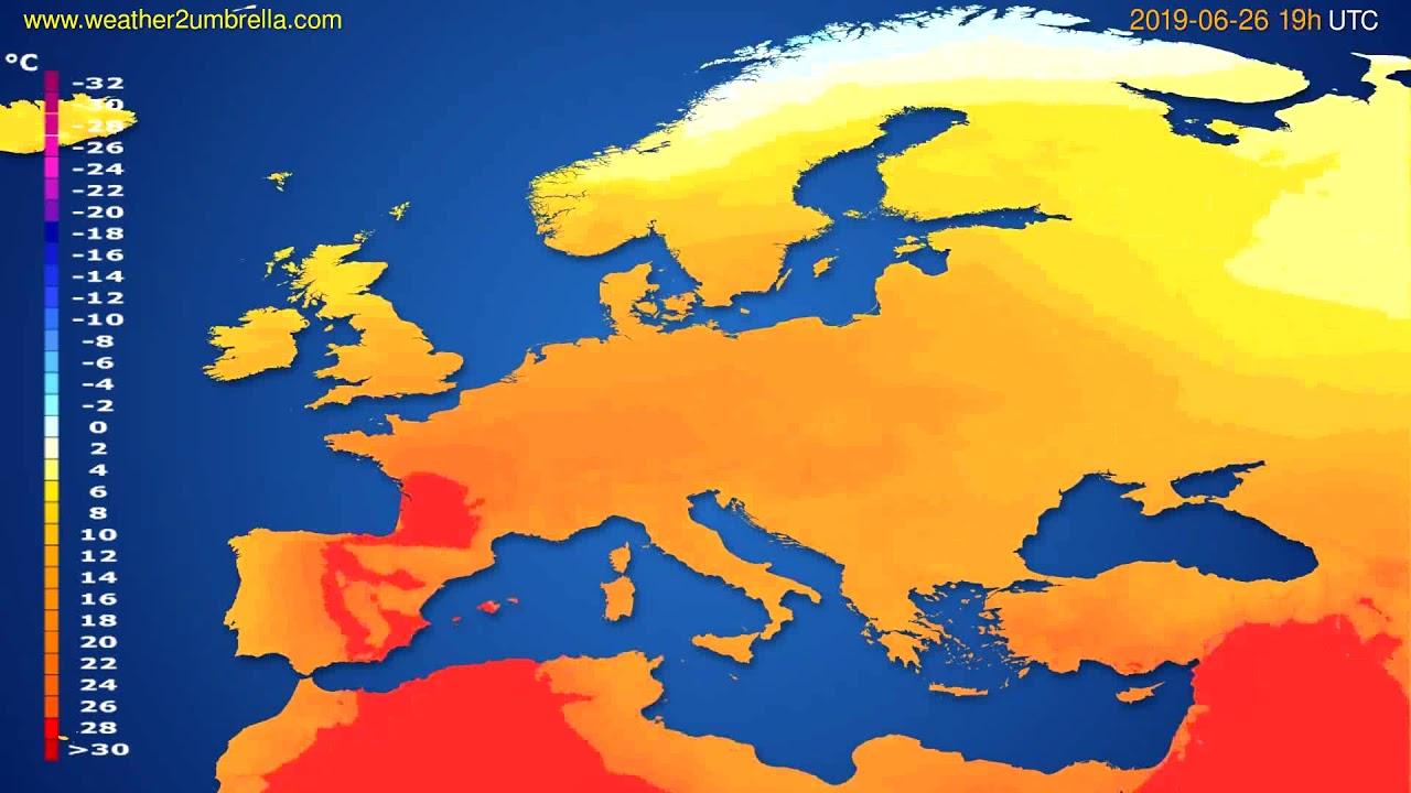 Temperature forecast Europe // modelrun: 12h UTC 2019-06-23