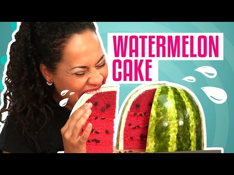 How To Make A WATERMELON out of CAKE! PINK VELVET cake with BUTTERCREAM and FONDANT!