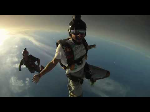 sky dive - Crown prince of Dubai Sheikh Hamdan Bin Mohammed Bin Rashid Al maktoum Fazza enjoying sky diving over the Palm island.