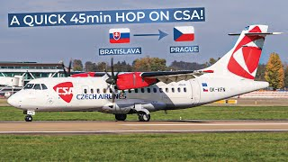 Don't forget to check out our other social media outlets! :)https://www.facebook.com/Simplyaviation/https://www.twitter.com/simply_aviationhttps://www.instagram.com/Simply_AviationAirline: CSA - Czech AirlinesAircraft: ATR 42-500Registration: OK-KFOSeat: 3FFrom: Bratislava M. R. ŠtefánikTo: Prague Václav HavelDate: June 2017For comments or enquiries contact:info(at)simply-aviation.comCOPYRIGHT 2017www.simply-aviation.com
