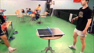 Liu Guoliang - Ma Long in mini table tennis!