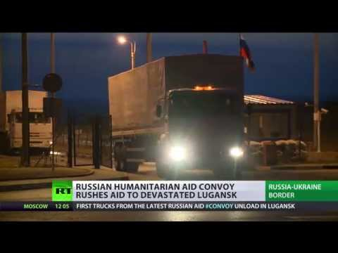 Long-Awaited Relief: Russian convoy delivers aid to Lugansk, E. Ukraine