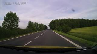 Driving on czech road I/20 from 32 km (Toužim, road II/198) to 82 km (Plzeň, road I/26). Speed: 1x.