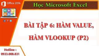 Hàm Value,Hàm Vlookup (P2)