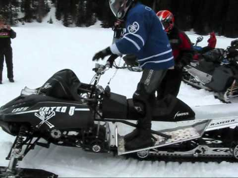 Rated R - this sled has a 1325 cc 4cyl kawasaki engine that runs on nitro methane it has 750 hp (it is definatly one of a kind) this video was filmed on the coquihala ...
