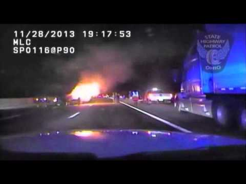 BEFORE - Dash camera video released by the Ohio State Highway Patrol shows a car speeding past troopers, followed by the scene of a fiery two-car crash that killed a ...