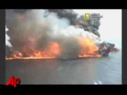 Asi fue el derrube de la plataforma  de petroleo en el golfo de Mexico