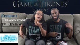 "- Game of Thrones (HBO) (SEASON 7 - PREMIERE) Ep. 1 ""DRAGONSTONE""  TV Review - GAME OF THRONES  (SEASON 7) Episode 1 ""Dragonstone""  TV REVIEW - * JVS *(Premiere) Episode 1 Synopsis:Jon organizes the defense of the North. Cersei tries to even the odds. Daenerys comes home.George R.R. Martin's best-selling book series ""A Song of Ice and Fire"" is brought to the screen as HBO sinks its considerable storytelling teeth into the medieval fantasy epic. It's the depiction of two powerful families -- kings and queens, knights and renegades, liars and honest men -- playing a deadly game for control of the Seven Kingdoms of Westeros, and to sit atop the Iron Throne. Martin is credited as a co-executive producer and one of the writers for the series, which was filmed in Northern Ireland and Malta.First episode date: April 17, 2011"