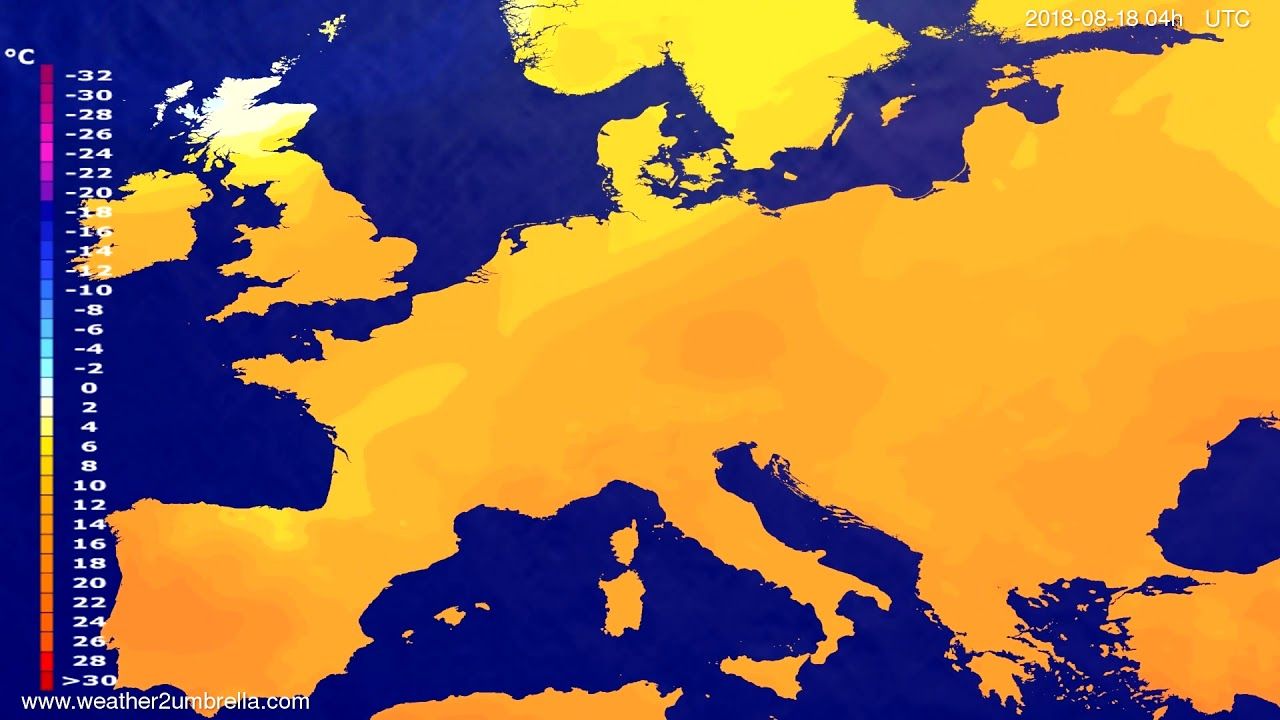 Temperature forecast Europe 2018-08-14