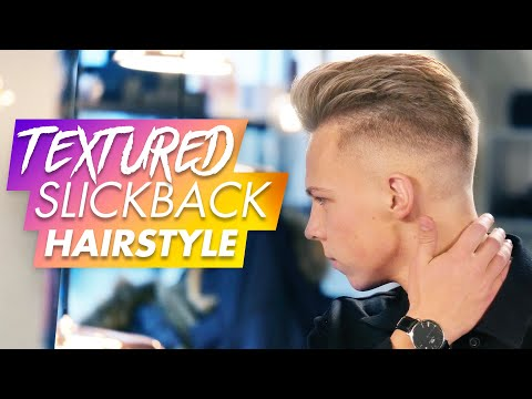Mens hairstyles - Slick Back Hairstyle With Texture  Men Hair Tutorial