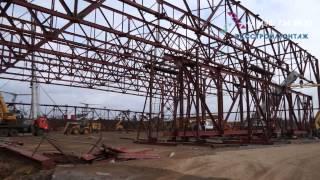 Монтаж фермы покрытия пролетом 84 метра