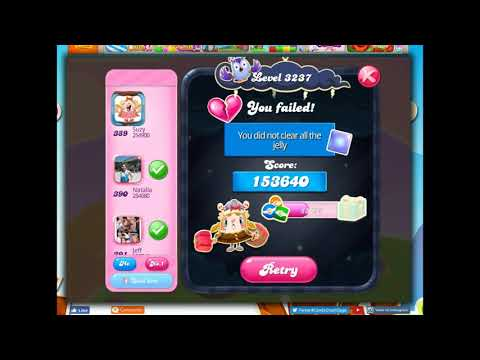 Candy Crush Level 3237 Talkthrough, 10 Moves 0 Boosters