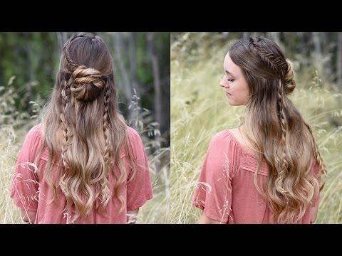 Half-Up Half-Down Bun Combo Hairstyle | Cute Girls Hairstyles