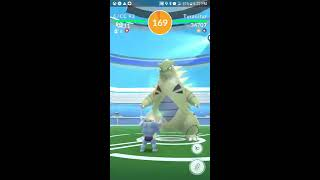 This was my last lvl 4 Raid before Chicago Fest which I am attending!  2 people at this raid let me use their phones to catch Tyranitar but unfortunately another guy asked me to use his last ball and even though I timed it right the bastard jumped immediately after attacking and dodged the ball.  So I felt bad for that.  But 3/4 ain't bad.