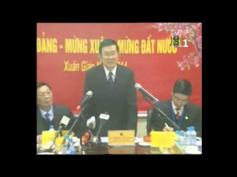 Chủ tịch nước Trương Tấn Sang tới thăm và làm việc tại Khu công nghiệp hỗ trợ Nam Hà Nội (Hanssip) ngày 11/02/2014