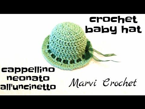 tutorial cappellino neonata all'uncinetto