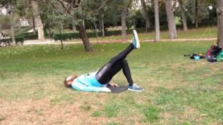 Elevación de cadera a un apoyo con pierna contraria extendida