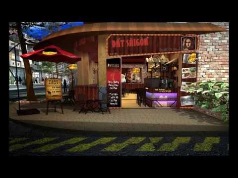 Mô hình 2d tư vấn thiết kế quán cafe Đất Sài Gòn