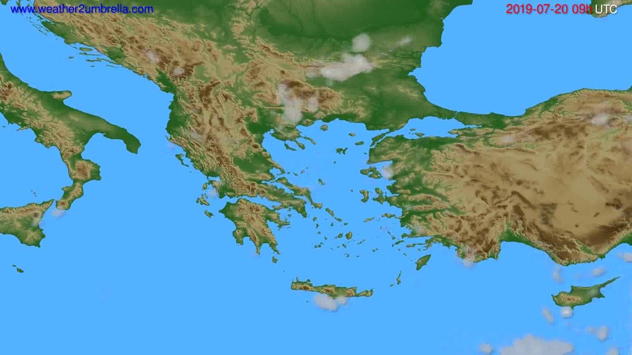 Cloud forecast Greece // modelrun: 12h UTC 2019-07-18