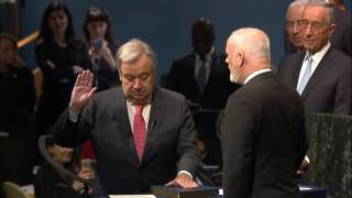 The 9th Secretary-General of the United Nations, Mr. António Guterres, takes his Oath of Office on Monday, 12 December 2016 at a special plenary meeting in the United Nations General Assembly Hall (New York).