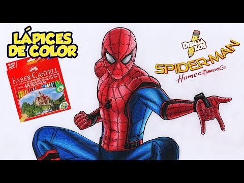 COMO DIBUJAR A SPIDERMAN HOMECOMING | LÁPICES DE COLORES BARATOS | TUTORIAL COMENTADO