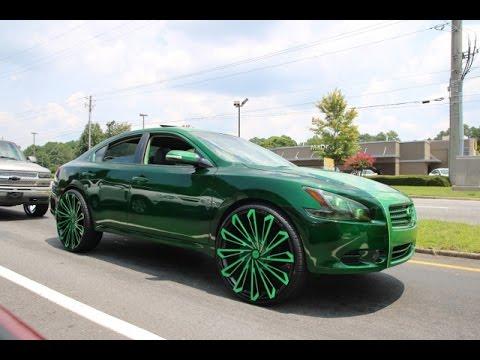 WhipAddict: Kandy Green Nissan Maxima on 469 SKS Starr Wheel 26s, Kandy Gold 96' Impala SS 28s
