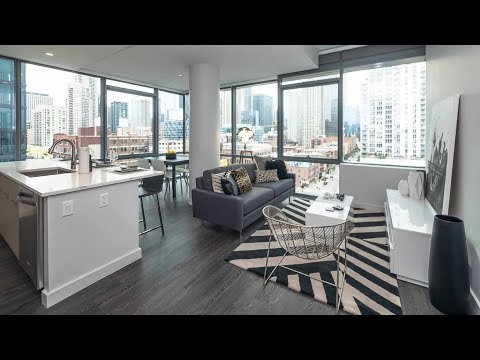 A 2-bedroom, 2-bath furnished model at River North's new SixForty apartments