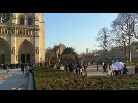 Facade of Notre Dame Cathedral , Paris
