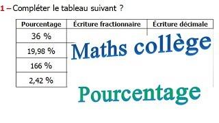 Maths 6ème - Le pourcentage Exercice 3