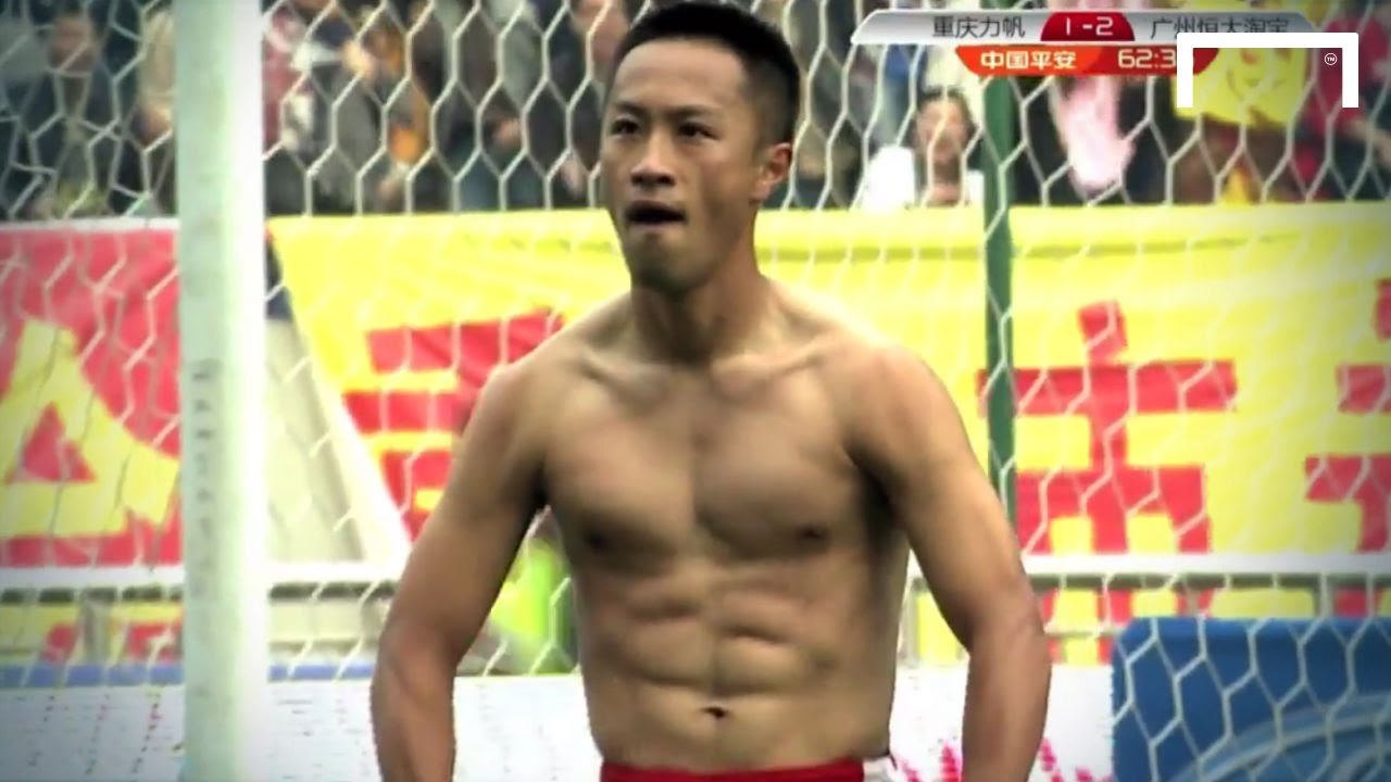 Zhang does the Balotelli celebration