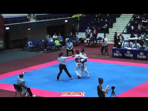 58kg Quarterfinal Bensaleh,Salaheddin (BEL) vs (UKR) Shvets, Yaroslav (-21 European TKD Champ 2015) (видео)