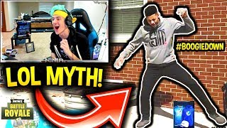 NINJA REACTS TO MYTH & CDNTHE3RD'S DANCE MOVES!! IT'S LIT! #BoogieDown Fortnite Contest (FUNNY)