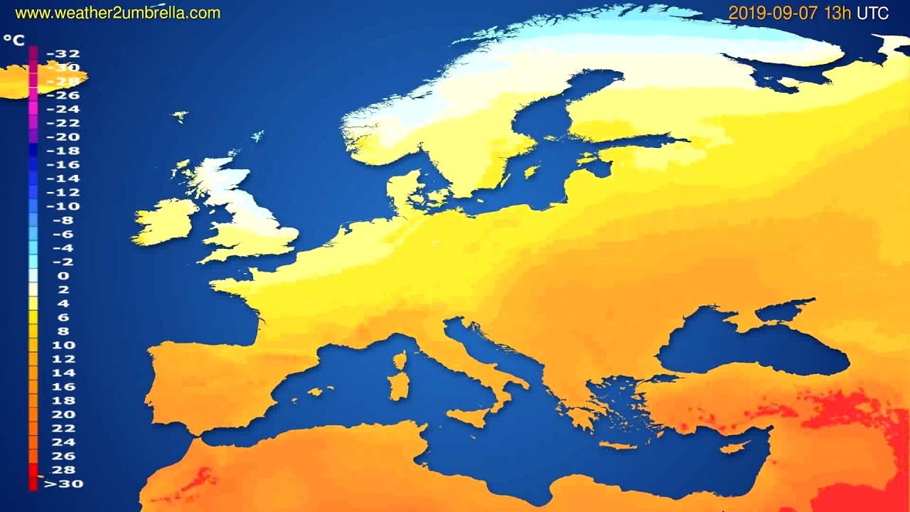 Temperature forecast Europe // modelrun: 12h UTC 2019-09-05