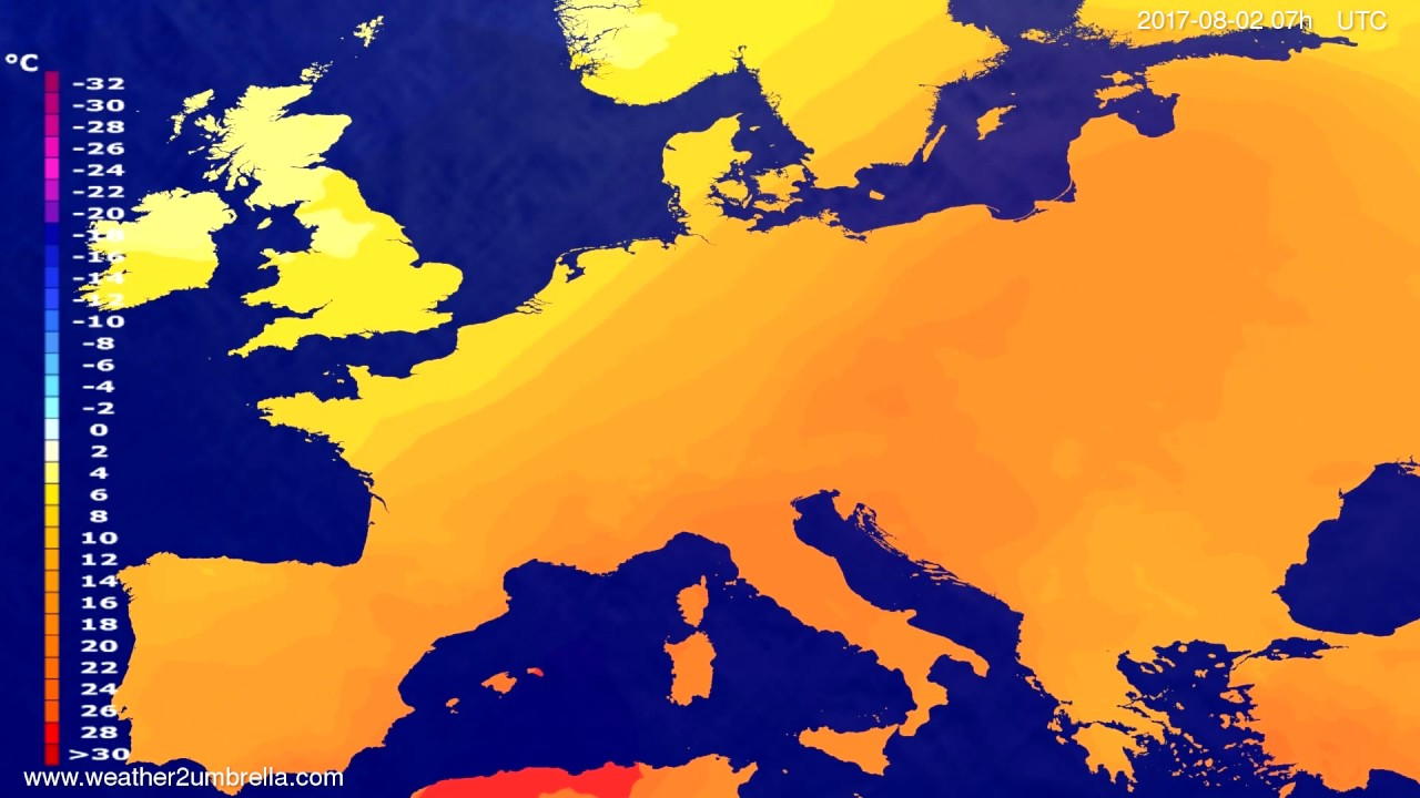 Temperature forecast Europe 2017-07-29