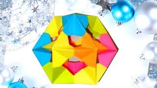 Многогранник из бумаги Кубооктаэдр. Origami Cuboctahedron