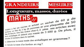 Maths 6ème - Longueurs, Masses, Durées Exercice 4