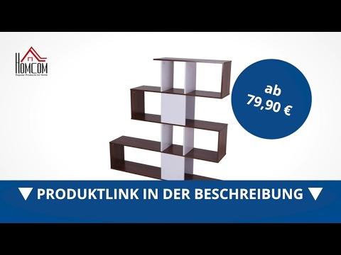 Homcom Regal Standregal Bücherregal Raumteiler Weiß 145 cm - direkt kaufen!