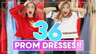 Video WE TRiED ON 36 PROM DRESSES! Can You Guess Our Favorites? #Prom MP3, 3GP, MP4, WEBM, AVI, FLV Juni 2019