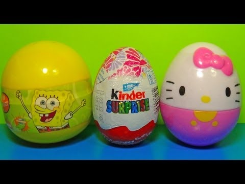 Kinder Surprise Barbie Surprise Egg SpongeBob Surprise Egg HELLO KITTY!
