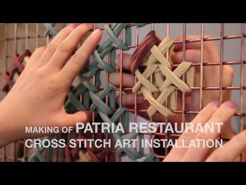 Huge Cross Stitch Art Installation! Patria Restaurant