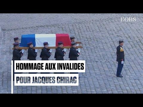 FRANCE : Entrée du cercueil de Jacques Chirac aux Invalides sous les tambours