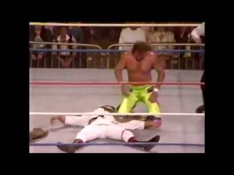 "SNME #6:  Jake ""The Snake"" Roberts DDTs Ricky ""The Dragon"" Steamboat On The Concrete."