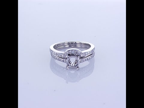 0.40CT Platinum Bridal Set Diamond Setting Band Has a Curved