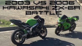 8. 2003 VS 2006 Kawasaki ZX-6R 636 RACE BATTLE + BIKE SWAP