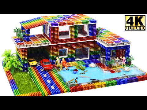 Building Most Beautiful Villa House Has Pool and Fishes from Magnetic Balls (ASRM) | Magnetic Man 4K