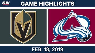 NHL Highlights | Golden Knights vs. Avalanche - Feb 18, 2019 by Sportsnet Canada