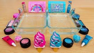 Pink vs Teal - Mixing Makeup Eyeshadow Into Slime! Special Series 77 Satisfying Slime Video